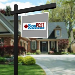 black real estate sign posts