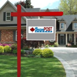 red real estate sign post