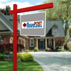 red real estate sign posts