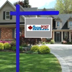 blue real estate sign post