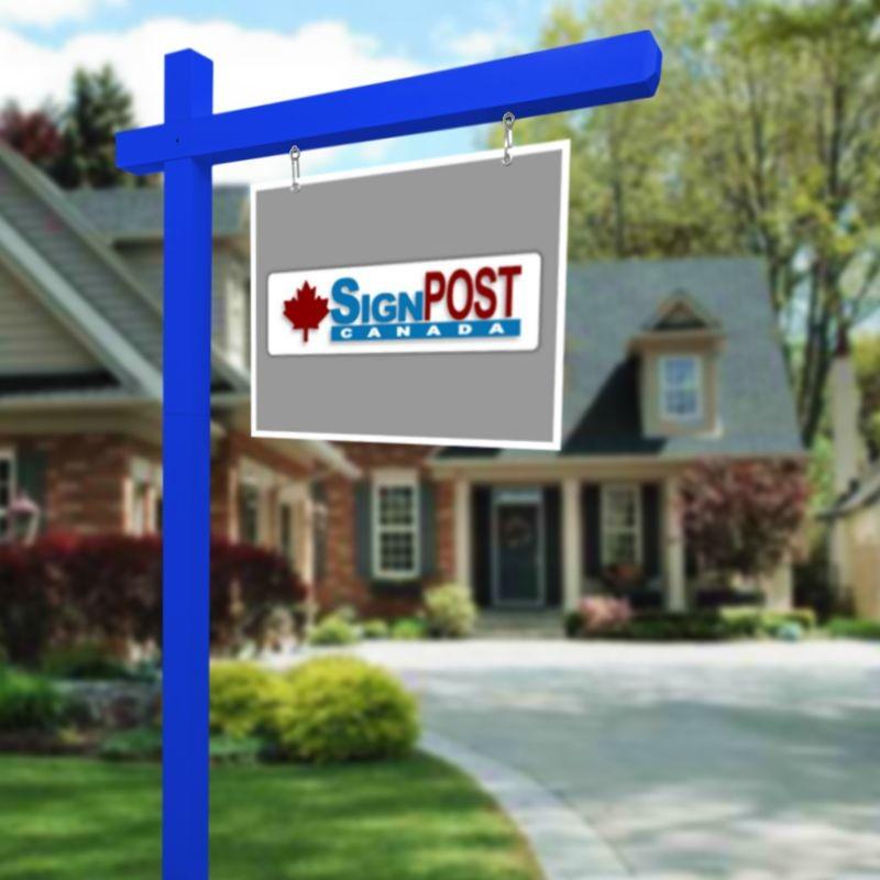 blue real estate sign posts