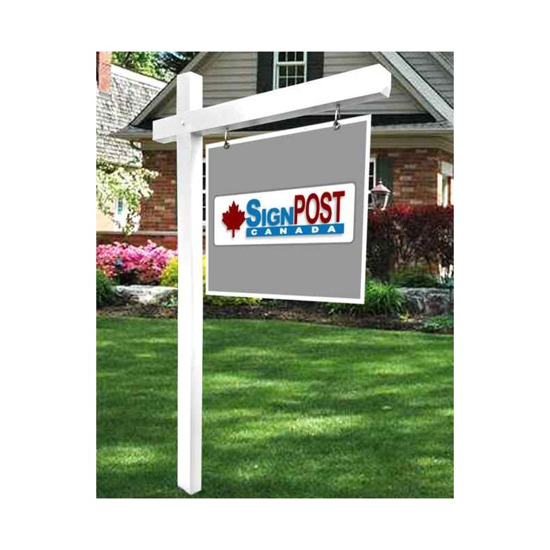 white real estate sign post