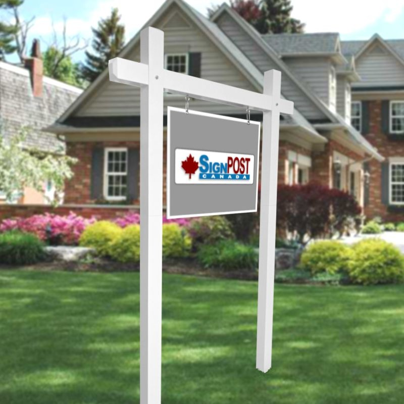 double real estate sign post