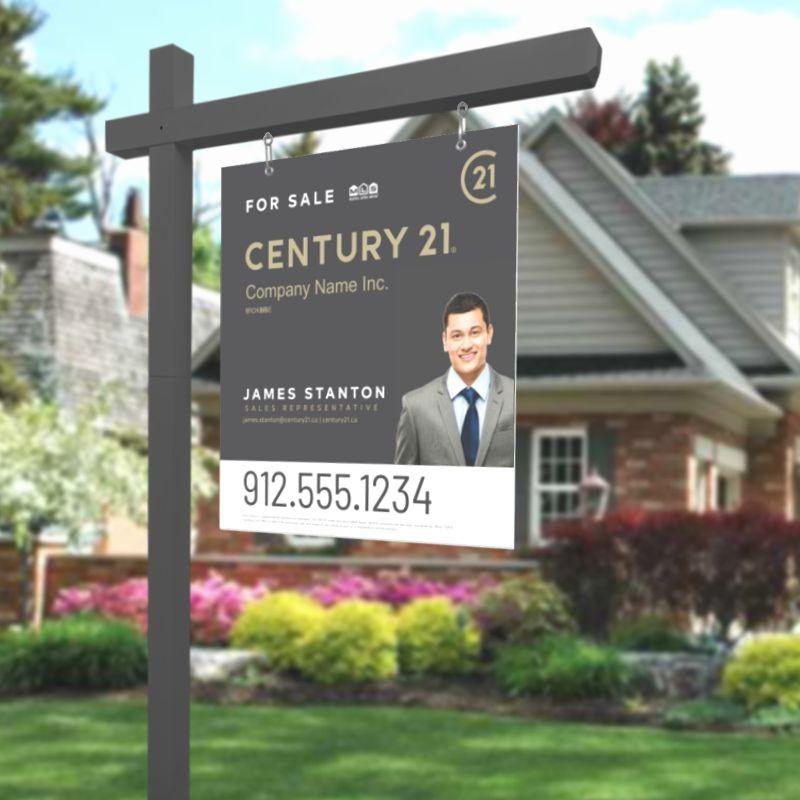 Grey Century 21 Sign Post