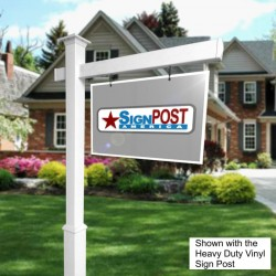 real estate sign post with post base